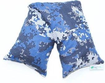 Cherry Pit Heating Pad, Microwave Heat Pack, Cooling Pad, Ice Pack, Camouflage, Blue