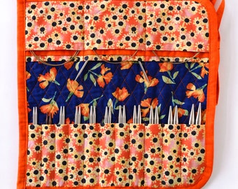 Interchangeable Knitting Needle Case 2016 edition - Navy Blue and Orange