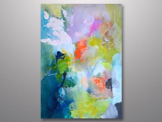 Originele abstract schilderij op papier felle kleuren - Moderne schilderij volwassen kamer ...