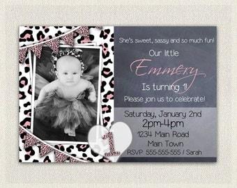 Girls 1st Birthday Leopard Print Invitation / Printable Download / First Birthday Invitation Invites / Pink Black White  DIY Digital (17)