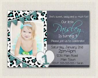 Girls 1st Birthday Leopard Print Invitation / Printable Download / First Birthday Invitation Invites / Aqua Black White  DIY Digital (18)