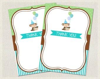 Thank You Cards Printable Birthday Monkey Brown 1st 2nd 3rd Green Blue Boys IV-3