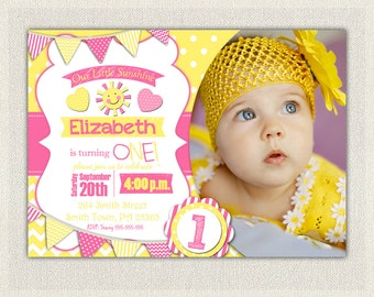 First Birthday Invitation Sunshine Girls 1st 2nd 3rd Birthday Yellow and Pink 1st Birthday Party You Are My SUNSHINE Invitations