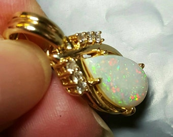 14K Yellow Gold Opal and Diamond Pendant Enhancer
