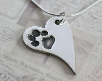 Pawprint Necklace, Pawprint Charm, Silver Pawprint, Pawprint Jewellery, Footprint Necklace, Personalised Jewellery, Pet Keepsake