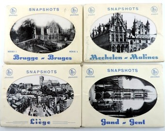 Vintage Belgian Souvenir Photo Sets From Bruges Liege Gent And Malines/ Vintage Black And White Souvenir Photo Sets From Belgium