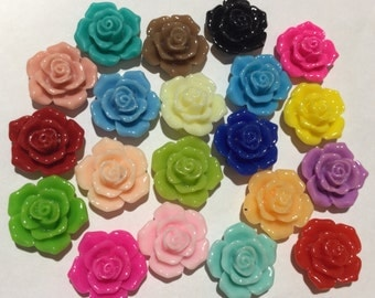 20 pcs 16 mm Mixed Cabochon Flowers, mix 16 mm resin flower, mixed 16 mm flower,18 mm rose cabochon, assorted resin flower, mixed lot flower