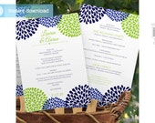 DiY Wedding Fan Program Template - DOWNLOAD Instantly - EDITABLE TEXT - Chrysanthemum (Navy Blue & Lime) 5 x 7 - Microsoft® Word Format