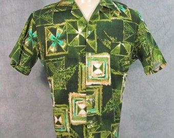 1960s Hawaiian Shirt Green Barkcloth G.V.H. Tikitex Fabric Medium Size