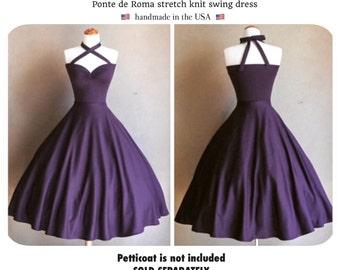 "Mid Calf Length 43"" Swing Dress: Vintage PLUM Purple Cherrybomb 2-in-1 Multi-Way Halter by HARDLEY DANGEROUS 1950s Rockabilly Bridesmaid"