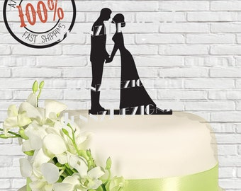 Silhouette Romantic Couple Holding Hands Wedding Cake Topper #CTS01 Made in USA...