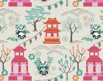 Minshan A116-1 Panda Temple on natural Lewis & Irene Patchwork Quilting Fabric