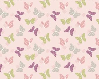 Bunny Garden A149-2 Butterflies on pink Lewis & Irene Patchwork Quilting Fabric