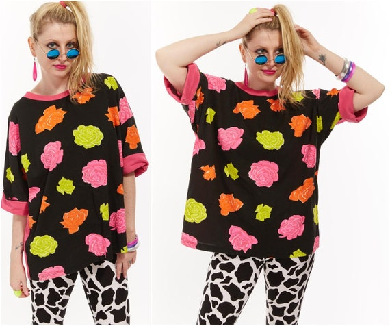 Vtg 90s GITANO Floral Graphic ROSES Print NEON Oversized T-Shirt Tunic Coverup Retro Club Kid Raver Sea Punk Cyber Kitsch Festival Day Glo