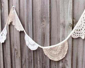 Crochet doily bunting - 4 metres