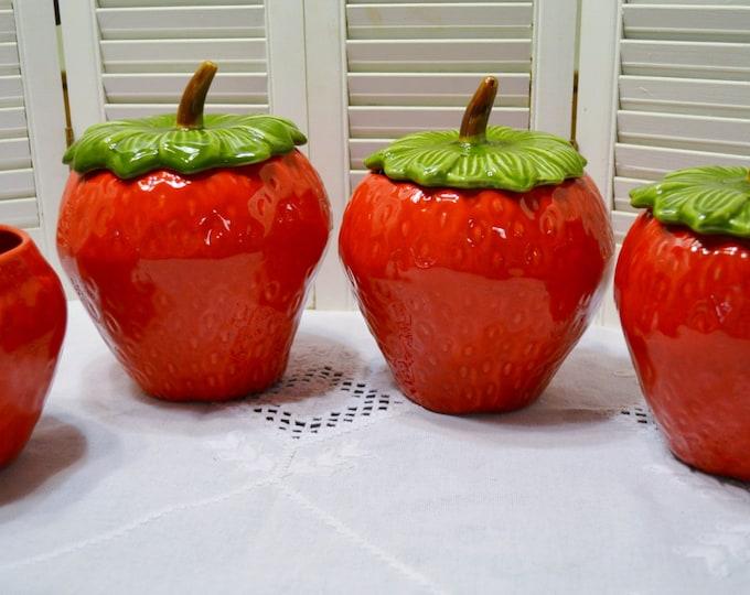 Vintage Strawberry Canister Set of 4 California Originals Red Green Cookie Jar Food Storage PanchosPorch