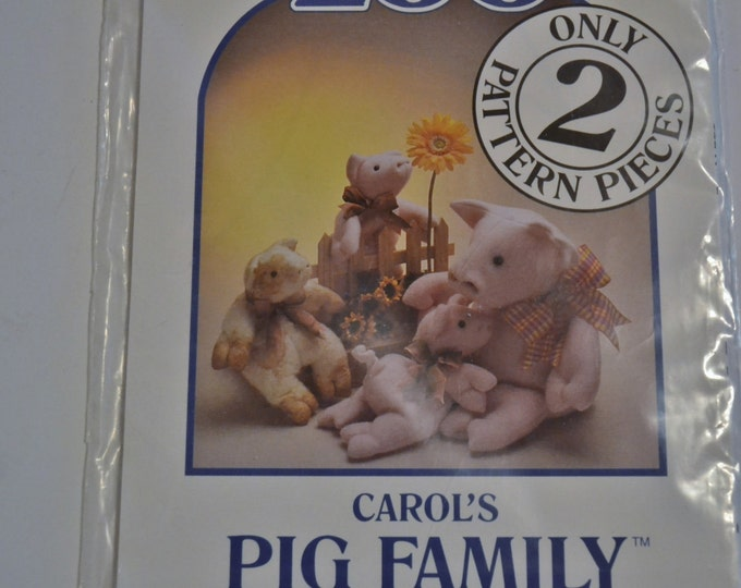 Carols Zoo Pig Family Soft Sculpture Doll Pattern Carol Cruise Sewing Quilting PanchosPorch