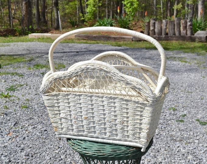 Vintage Wicker Magazine Rack White Rattan Storage Bin Yarn Craft Project Cottage Home Decor PanchosPorch