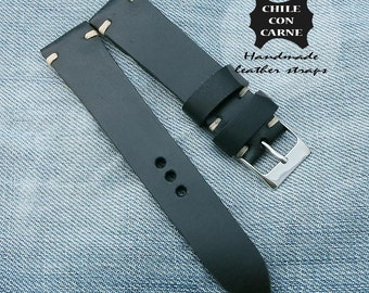 20mm Watch strap, Rolex leather watch strap, leather watch band, , 20mm 22mm 24mm strap, tapered strap, rolex black strap, speedmaster strap