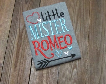 boys valentine shirt, Little Mister Romeo, Boys embroidered valentines day shirt