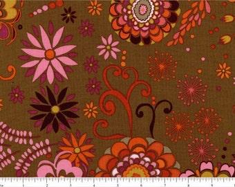 Valori Wells fabric Karavan VW39 Kashmir brown orange pink floral flowers abstract Free spirit 100% cotton fabric by the yard