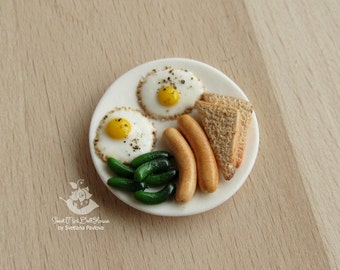 Miniature plate with Breakfast scale 1:12
