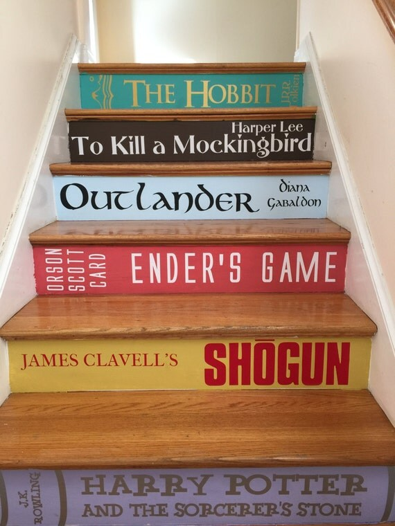 book spine stair decals books stairs premium version. Black Bedroom Furniture Sets. Home Design Ideas