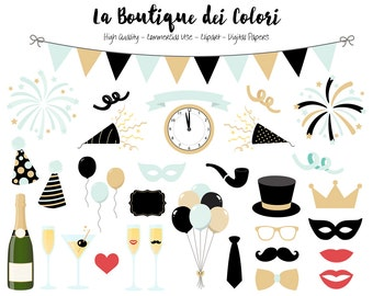 Mint and Gold New Years Clip art, Cute illustrations PNG, New Year, Party, Champagne, fireworks Clip art, Planner Stickers Commercial Use