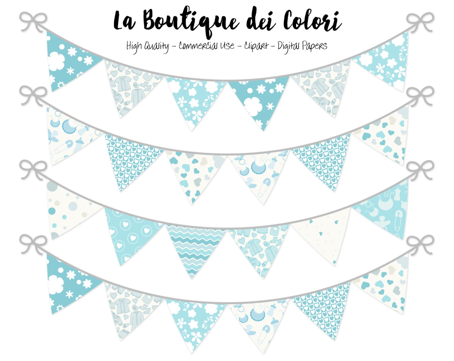 Baby Boy Bunting Banners Party Flags clipart Cute blue