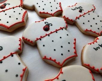 One Dozen Ladybug Onesie Cookies