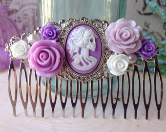 Lavender Day of the Dead Bridal Hair Comb//Wedding//Skeleton Lady//Lolita//Pin Up//Pastel Goth//Gothic//Rockabilly//Hair Accessories