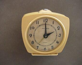 Old Vintage USSR ers Alarm Clock JANTAR 1950s Soviet Union Alarm 4 jewels ivory color Working condition