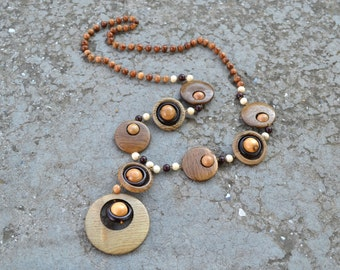Wooden necklace. Natural jewelry.