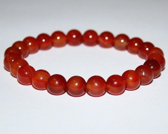 Carnelian stretch bracelet. Natural Gemstone Stretch Bracelet. Womens Bracelet. Mens Bracelet.