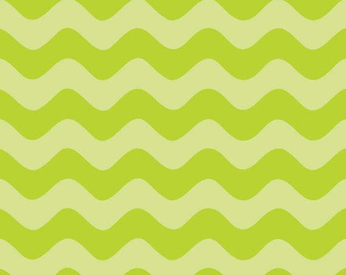 Half Yard Wave - Waves Tone on Tone in Lime Green - Cotton Quilt Fabric - RBD Designers for Riley Blake Designs - C425-32 (W3296)