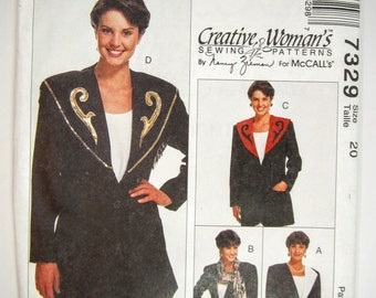 McCall's 7329 Sewing Pattern Misses' Unlined Jacket Size 20 Uncut