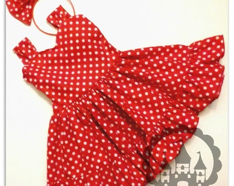 Red Minnie Mouse Dress, Red Polka Dot Dress, Minnie Mouse  Bow, Minnie Birthday Dress, DIsney Trip, Mickey Mouse Dress, Red Retro Dress