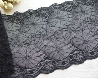 "7.9"" wide Black Elastic Lace for Boot Cuffs, Headbands, Fingerless Gloves, Lingerie"