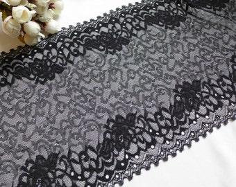 "Black lace trim soft elastic lace 8.7"" wide stretch lace trim by the yard"