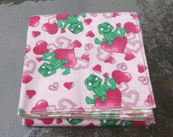 Frogs and Hearts Flannel Receiving or Swaddling Blanket, Double Layer, 2 Layer Serged Blanket, Crib or Stroller Blanket