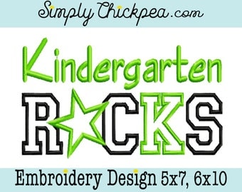 Embroidery Design - Kindergarten Rocks Appliqué - Star - Perfect for Back to School Shirt - Kindergarden - For 5x7 and 6x10 Hoops