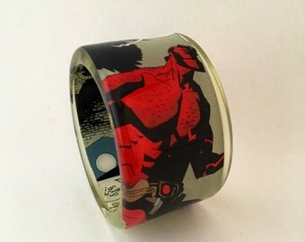 Comic Book Thick Chunky Resin Bangle Bracelet Featuring Hellboy