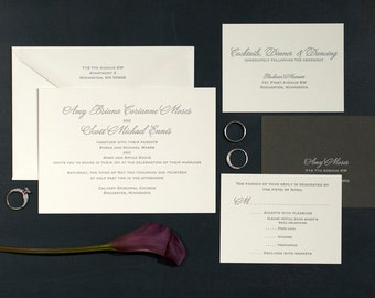 Letterpress Wedding Invitation Suite with RSVP set & information card | Classic Wedding Invitations | Traditional Wedding Invitation