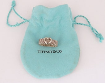 Vintage Tiffany & Co Sterling Silver Mesh Heart Ring Size 5.5