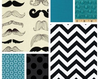 Custom Baby Boy Bedding - Blanket, Skirt & Sheet Crib Bedding Set with Moustaches in Turquoise
