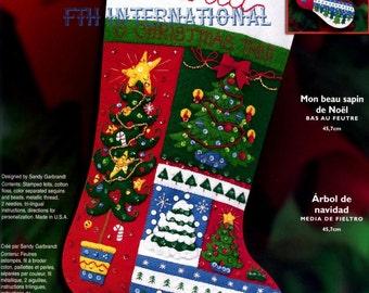"Bucilla O' Christmas Tree ~ 18"" Felt Stocking Kit #84757, Patchwork, Music, Snow DIY"