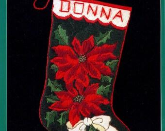 "Bucilla Poinsettia ~ 18"" Longstitch Needlepoint Christmas Stocking Kit #60670 DIY"