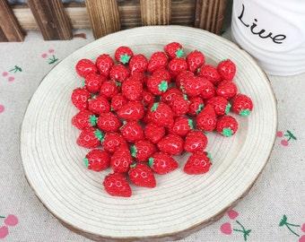 10Pcs Kawaii DIY Artificial Miniature Fake Strawberry Scrapbooking Accessories Embellishments Decoration Crafts Making:10*15MM