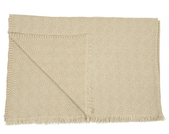 Woollen Throw - Beige with small off white diamond pattern. Handmade in Kashmir, India