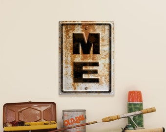 Maine ME State Highway Style Rusted Metal Sign - #53223